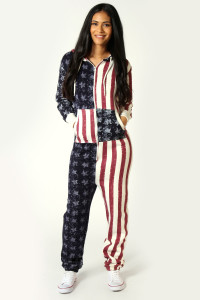 a5602607569c Stars and Stripes USA Onesie For Women. Women s USA Flag Onesie