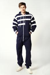 mens striped onesie blue