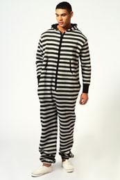 Men's striped onesies allinone