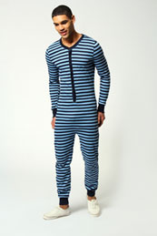 Blue striped onesie for men