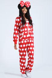 Polka dot mouse onesie for girls